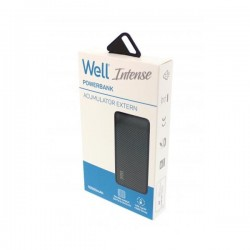 Φορητός Φορτιστής 10000mA 2.1A μαύρο Intense Power Bank Well PBANK-INTENSE100BK-WL